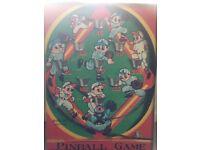 Japanese art pinball game print vintage style canvas