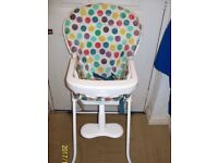 Graco Baby high Chair Spotlessly Clean folds and unfolds easily Wipe clean Plastic . Please see pics
