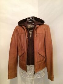 Leather bomber jacket with detachable hood
