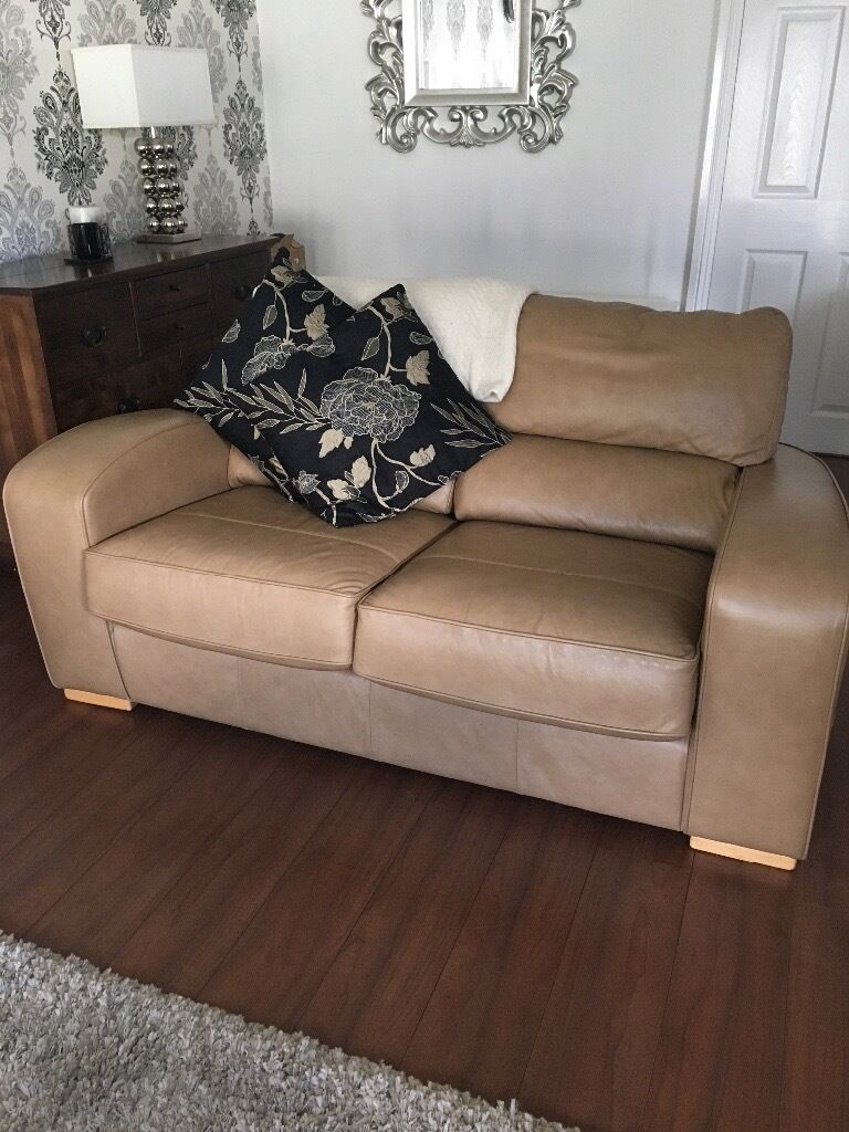 Harvey S Sand Colour Beautiful Leather Sofas For With Footstall And Storage