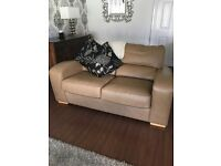 Harvey's sand colour beautiful leather sofas for sale with footstall and storage