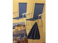 2 Spring Tension Patio / Deck Chairs with matching Parasol