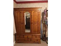Solid pine vintage wardrobe in excellent condition