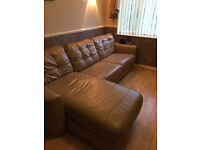 Corner sofa bed suite with chair and footstool leather