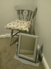 Vintage Mirror And Fiddle Back Chair With New Cushion