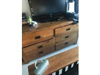 Oak chest of drawers and bedside tables x 2