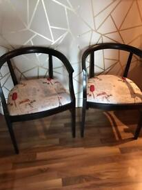 Lovely reupholstered chairs, black sheen finish £35 each or pair for £60