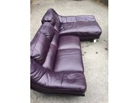 Leather Corner Sofa with Swivel Chair and Footrest