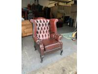 Oxblood red leather chesterfield wingback chair UK DELIVERY