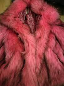 Pink Black fake fur coat