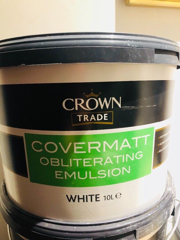 Crown trade covermatt obliterating emulsion white 10L | in Portslade, East  Sussex | Gumtree