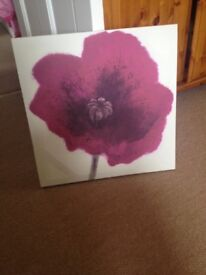 Canvas with large flower print