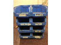 8 Blue Schafer tote bins storage Bins VERY BIG