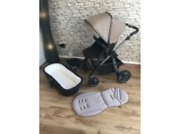 Classic Sand colour Silver Cross Pioneer Cot/Pushchair with inner seat and rain cover