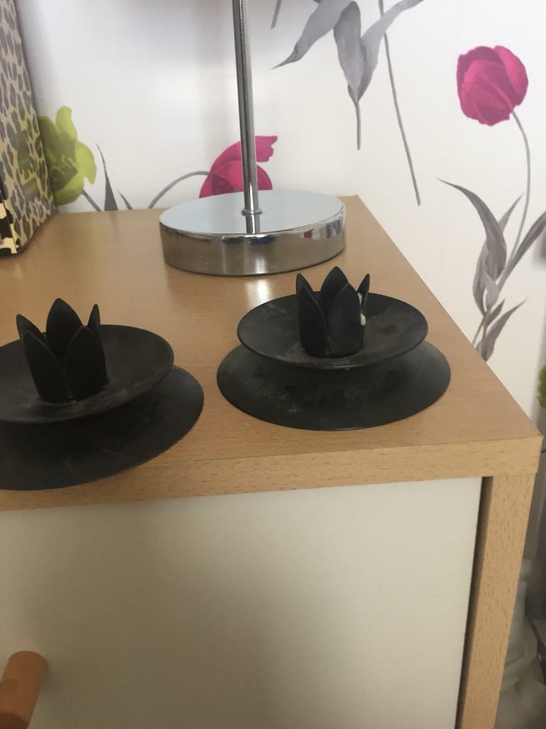 Black candle stick holders