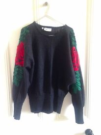 Ladies Vintage Magnanini wool blend black jumper with ribbon embellishment on arms, size 40