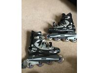 Roces inline skates/rollerblades size 8 with elbow/knee/ankle pads