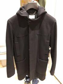 Sandro Woolcloth coat jacket with hood black Men cashmere size M (EU50 or UK40)