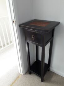 Black/Brown Chinese Style Side Table - ideal for lamp or plant