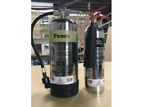 New Stainless Steel Design Fire extinguisher set - foam and CO2 - commissioned and serviced