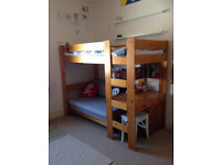 Pine Loft Bed with Desk and Sofa Bed. Solid wood.