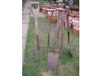 6 Old garden forks and spades