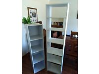 White storage shelving units