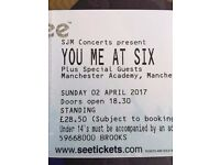 2 x STANDING You Me At Six Manchester Tickets (Sold Out) 2nd April