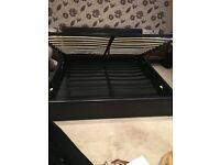 Super King Ottoman Bed - 6ft - Faux Leather - Dark Brown - Gas Lift