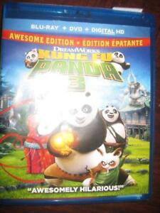 Kung Fu Panda 3 Movie (Blu-ray + DVD + Digital HD) (2016). Awesome Edition. Hilarious. Family Film. Jack Black.