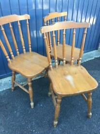 Pine kitchen chairs x3
