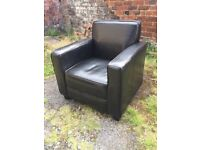 Black tub chair leather look