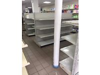 SHOP FITTING AND FIXTURES ALL MUST GO SHELVING SHOP COUNTERS TROLLEYS BASKETS LADDERS PUMP TRUCKS