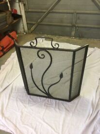 Fire Guard, Wrought Iron, Ornate Front Panel.