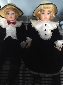 Porcelain twin dolls