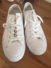 Converse - white leather, size 6, rarely used