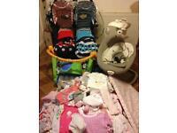 Huge bundle of baby stuff. Double pram, baby swing, perfect prep and more