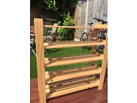 Four level wooden shoe rack