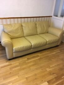 Cream leather sofa and chair. Hardly Been used!