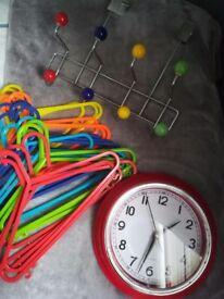 Kids bedroom red clock door hooks hangers
