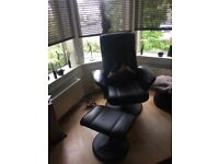 Chocolate Brown Faux Leather Swivel Chair & Footstool