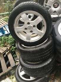 HYUNDAI GETZ 15 INCH ALLOY WHEELS 4 STUD WITH 205/50R15 TYRES SET OF FOUR