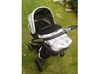Mothercare Spin Pushchair/pram & Britax Car seat with base and adaptors.. Good condition.
