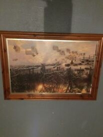 LARGE FRAMED PAINTING - THE SHORTENING WINTERS DAY BY JOSEPH FARQUHARSON