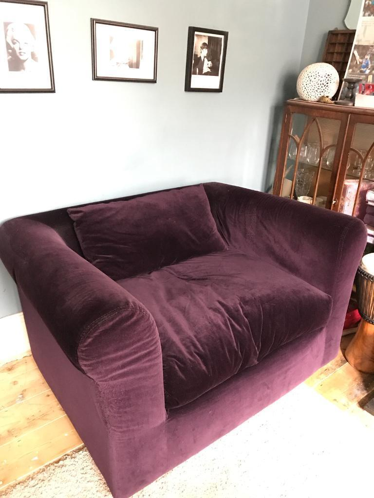 Surprising Purple Velvet Luxurious Love Seat Small Sofa In Bishopston Bristol Gumtree Customarchery Wood Chair Design Ideas Customarcherynet
