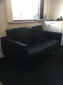 2 X 2 seater Dwell Sofas (Black) with brushed aluminium feet
