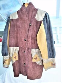 UNUSUAL - VERY NICE - LADIE'S MULTI COLOR SWEDE AND LEATHER JACKET - SIZE MEDIUM 12