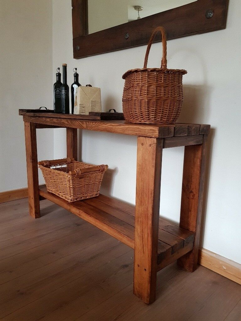 kitchen console table decorating rustic reclaimed hallway or kitchen console tabletv unitdesk handcrafted local unitdesk