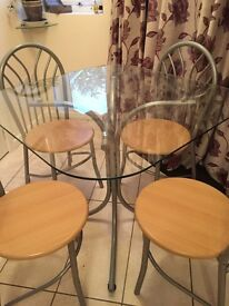Kitchen Glass Table & 4 Chairs
