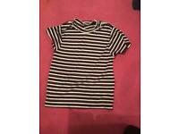 Black white and burgundy striped top age 11-12